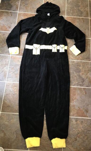 Womens DC Comics Batman Bat Woman One Piece Hooded Fleece Pajama Small 98e5041de