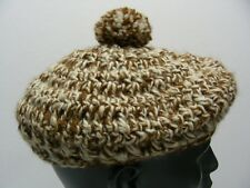 HAND KNITTED - BERET STYLE WITH POOF BALL - ONE SIZE STOCKING CAP BEANIE HAT ! 71b7cad1ac9