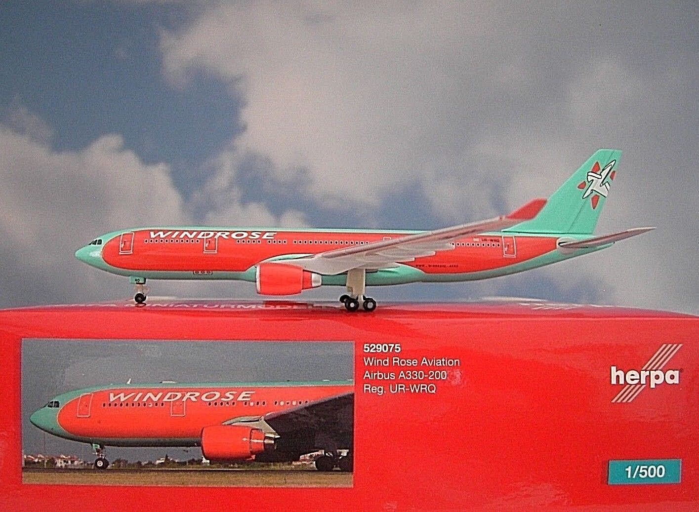 Herpa Wings 1 500 Airbus A330-200 A330-200 A330-200 Wind pink Ur-Wrq 529075 Modellairport500 49895a