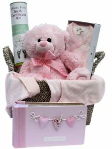 BABY-GIRL-HAMPER-Pink-Teddy-Baby-Clothes-Basket-Baby-Shower-Gift