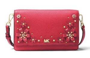 7ed29c480651 Image is loading MICHAEL-KORS-Floral-Embellished-Pebbled-Leather -Convertible-Crossbody