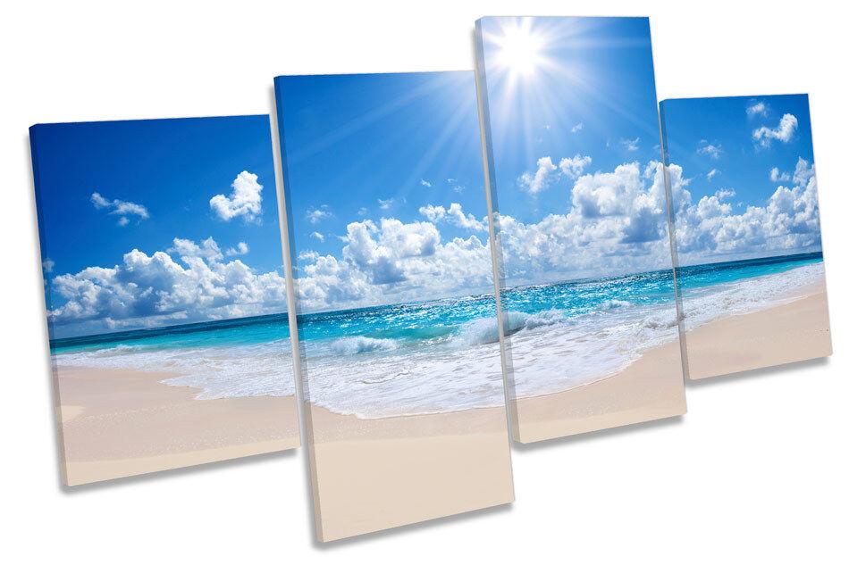 Sunset Beach Multi Paradise Multi Beach tela pared arte enmarcado Panel f54f49