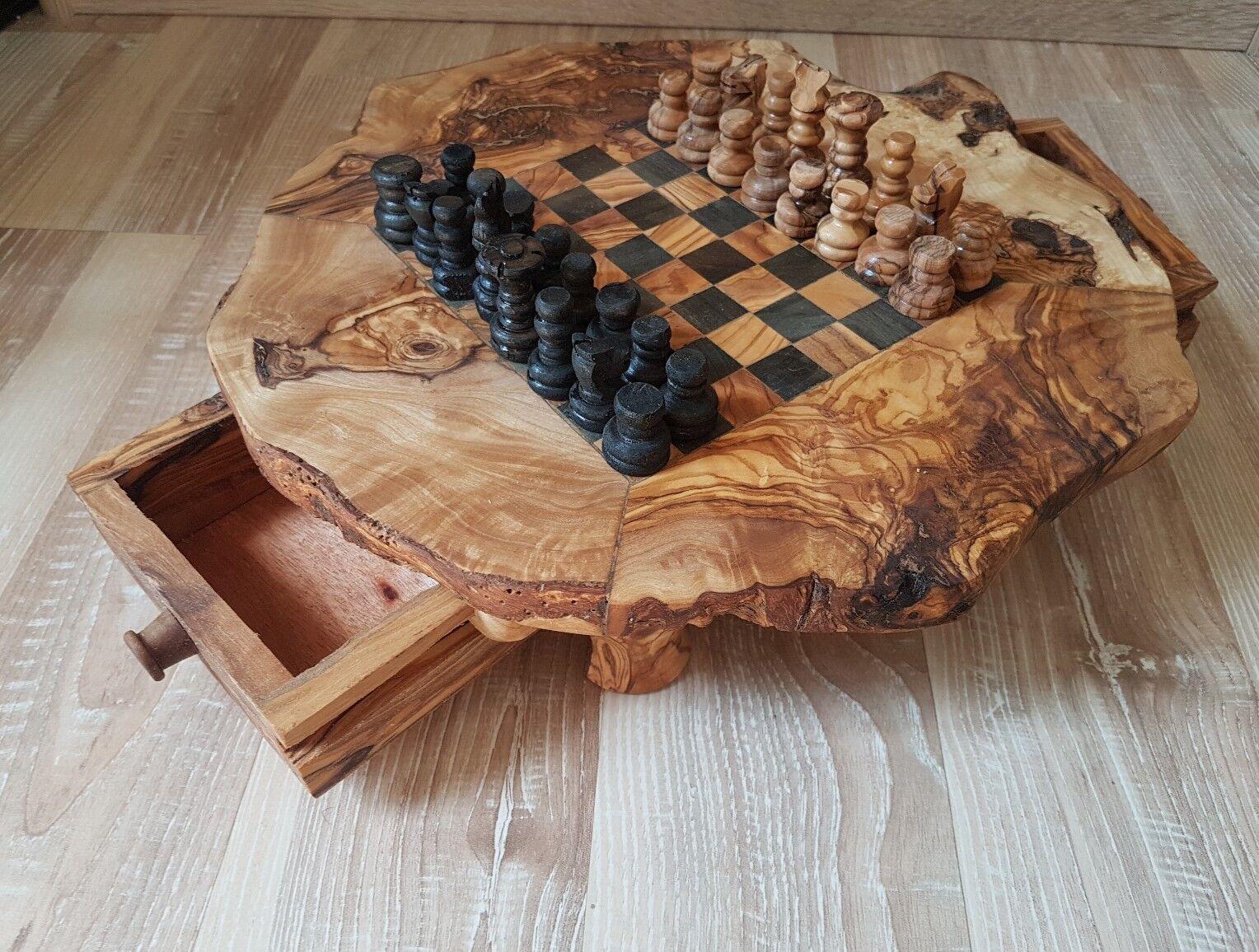 Schach Schachbrett Schachspiel Schachtisch aus Olivenholz Neu mit Figuren