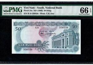1969-VIETNAM-SOUTH-50-DONG-PMG66-EPQ-GEM-UNC-P-25a