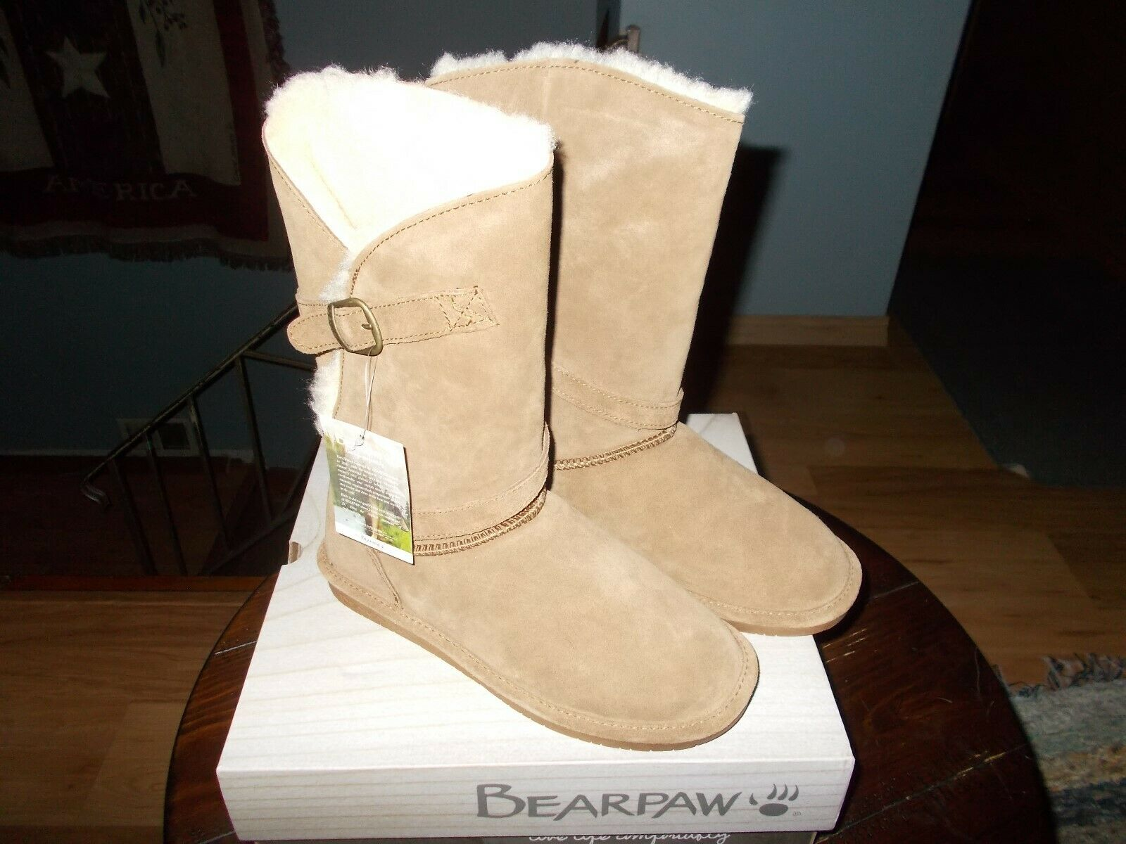 Bearpaw Tatum Women's Suede Sheepskin Fur Lined Mid-Calf Boots SIZE 8