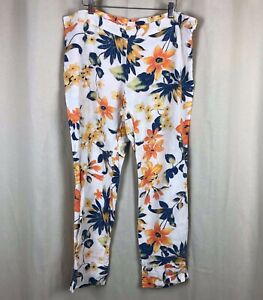120-Lino-White-Blue-Orange-Floral-Linen-Pants-34-Waist