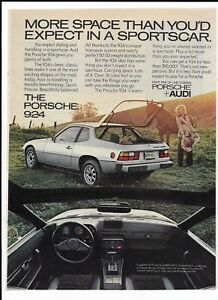 1977 Silver Porsche 924 Print Ad ~ More Space Than You'd Expect in a Sportscar