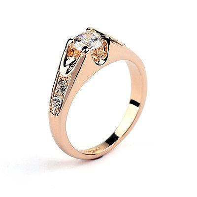 18K White / Rose Gold GF Swarovski Crystal Engagement Wedding Ring Size 6 to 9