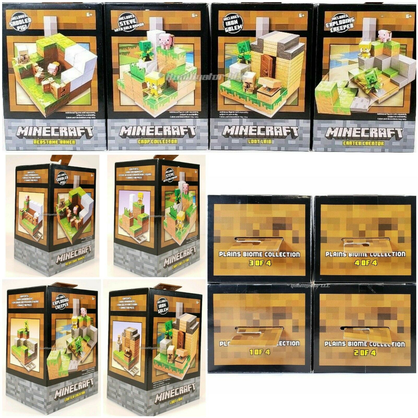 NEW Mineccraft Plains Biome samling complete Set of (4) Mattel Brand New Lot
