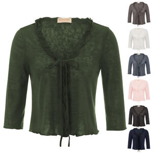 Ladies-Women-Knitted-Shrug-Bolero-Tops-Cropped-Shirt-Open-Front-Cardigan-Sweater