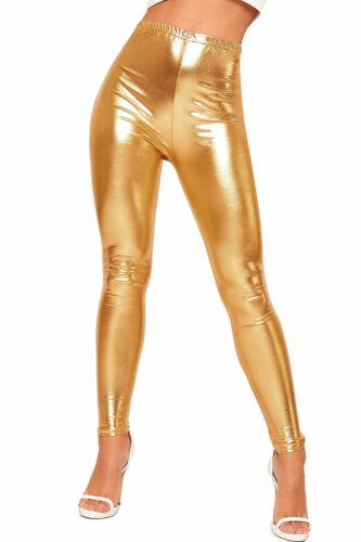 Womens Shiny Metallic Print High Waisted Disco Pants Leggings Ladies Stretch