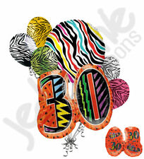 7 pc Still Wild at 30 Happy Birthday Colorful Zebra Print Balloon Bouquet 30th