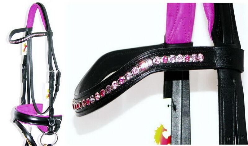 FSS blueSH DAZZLE 6mm Crystal BLING Curve purpleC PINK Comfort Padded Crank Bridle