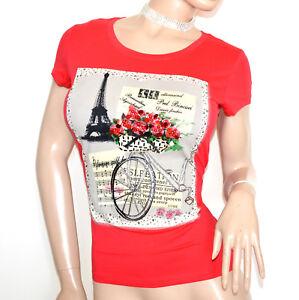 CHEMISE-manches-courtes-rouge-femme-T-shirt-blouse-coton-underjacket-Jersey-G18