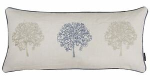 FILLED TREES TREE EMBROIDERED BOUDOIR COTTON LINEN SILVER GREY CUSHION 30 X 65CM