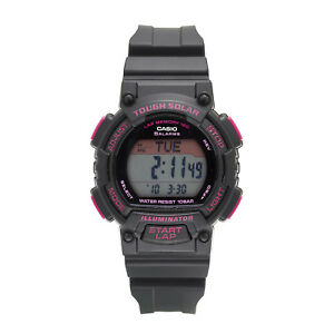 Casio-Ladies-039-Tough-Solar-Runners-Pink-Accent-Black-Resin-36mm-Watch-STLS300H-1C
