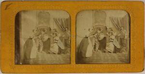 Francia Scena Da Genere Groupe Salon c1865 Foto Stereo Diorama Vintage Albumina