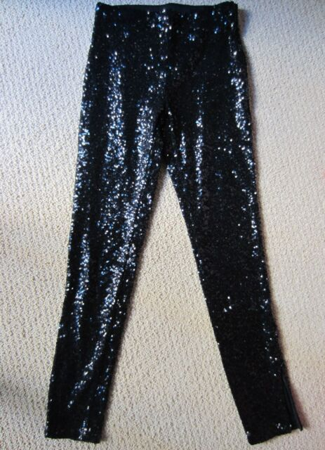 66d24cfd71f WOMENS H M BLACK SEQUINED SPARKLE SKINNY LEG PANTS SIZE 4 US 34 EUR NWT  GORGEOUS