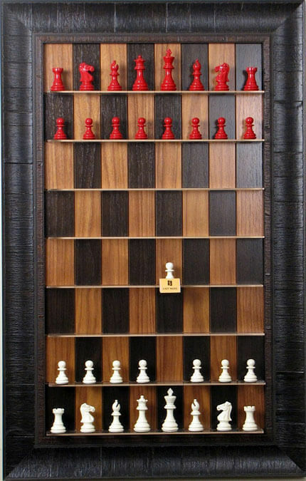 Straight Up Chess Board - Dark Walnut Series Series Series with Rustic Brown Frame 48ba23