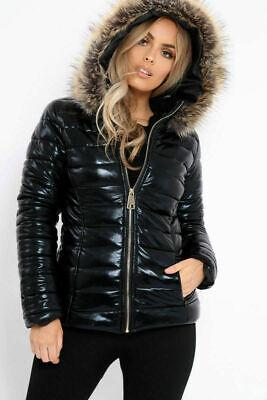 New Ladies Wet Look Puffer Coat Winter Shiny Pu Fur Hooded Jacket top Size 8-14