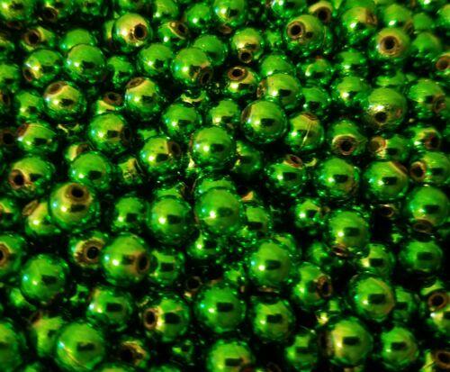 350 Stück Metallic Grün Einzelne Künstlich Plastik Perlen 8mm Rund Handwerkkunst