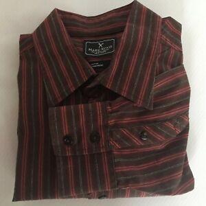 Marc-Ecko-Mens-XL-Brown-Red-Black-Long-Sleeve-Dress-Shirt