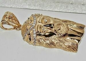 Solid-9ct-Yellow-Gold-on-Silver-Jesus-Head-Large-Pendant-UK-Hallmarked