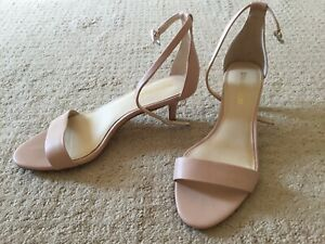 WORN ONCE SIZE 7 enzo angiolini Nude Kitten Heels Sandal Ankle Strap