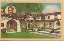 Home of Mickey Rooney in Encino CA Postcard 1944