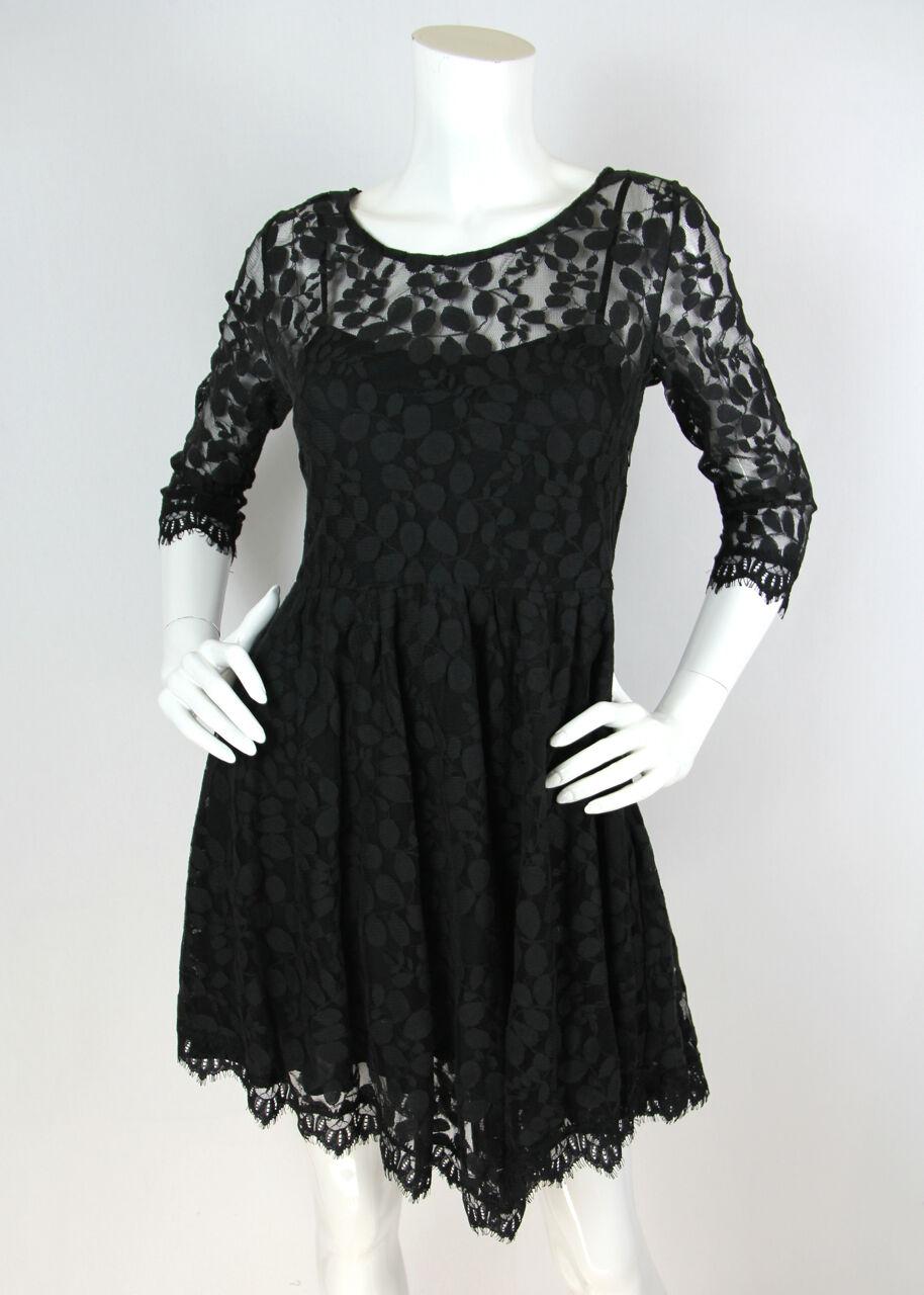 Free People Sz XS S Dress schwarz Floral Mesh Lace 3 4 Sleeve Cocktail ASO Celebs