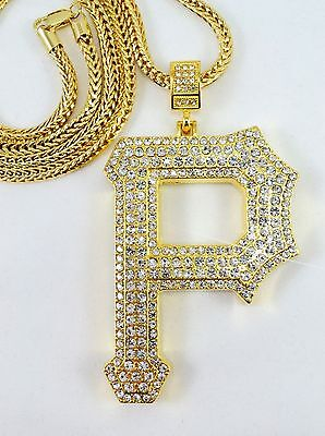 HIP HOP Gold Plated Iced Out Letter P Pendant Long Franco Chain36''W2.5''L4''