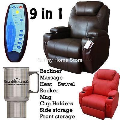 Luxury Leather Cinema Recliner Chair Sofa w/ Massage, Rocker, Nursing, Gaming