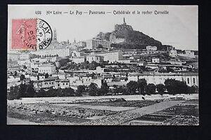 Tarjeta-Postal-Antigua-CPA-Animada-El-Puy-Panorama-Cathedrale-Y-Roca-Corneja