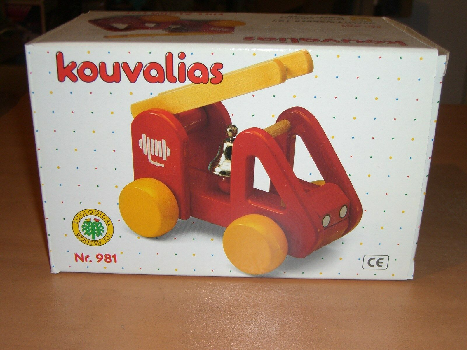 VINTAGE WOODEN FIRE ENGINE GREEK PULL TOY KOUVALIAS No 981 MINT MIB