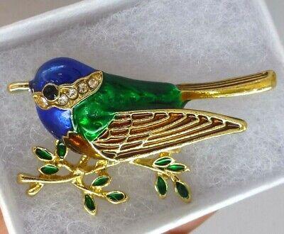 Bird brooch multi colour enamels crystal rhinestone vintage style in gift box