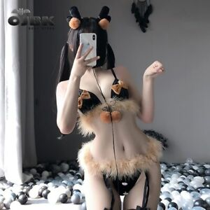 Furry in panties bra Furry Elk Cosplay Fuzzy Bra With Bow Knot Panties Anime Lingerie Sexy Outfit Ebay
