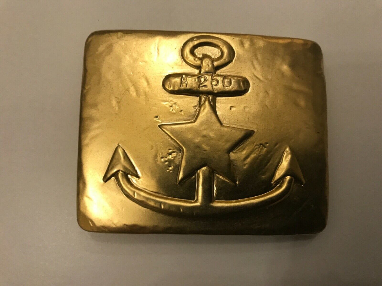 Rare,vintage women's gold plaited nautical inspired anchor and star belt buckle