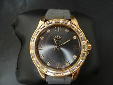 Curations Men's Gold Tone Swarovski Crystal Gem Elements Face Quartz Watch