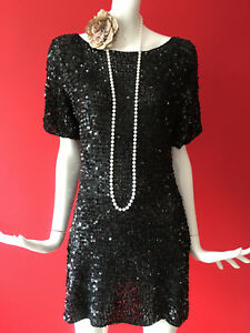 Vintage ispirato Paillettes Wallis Black 1920 Flapper Gatsby Size Party Dress S 0PkX8OnwZN