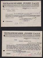 "EMMENDINGEN, 2 Belege 1935/37, Textilschuh-Fabrik ""PIONIER"" GmbH"