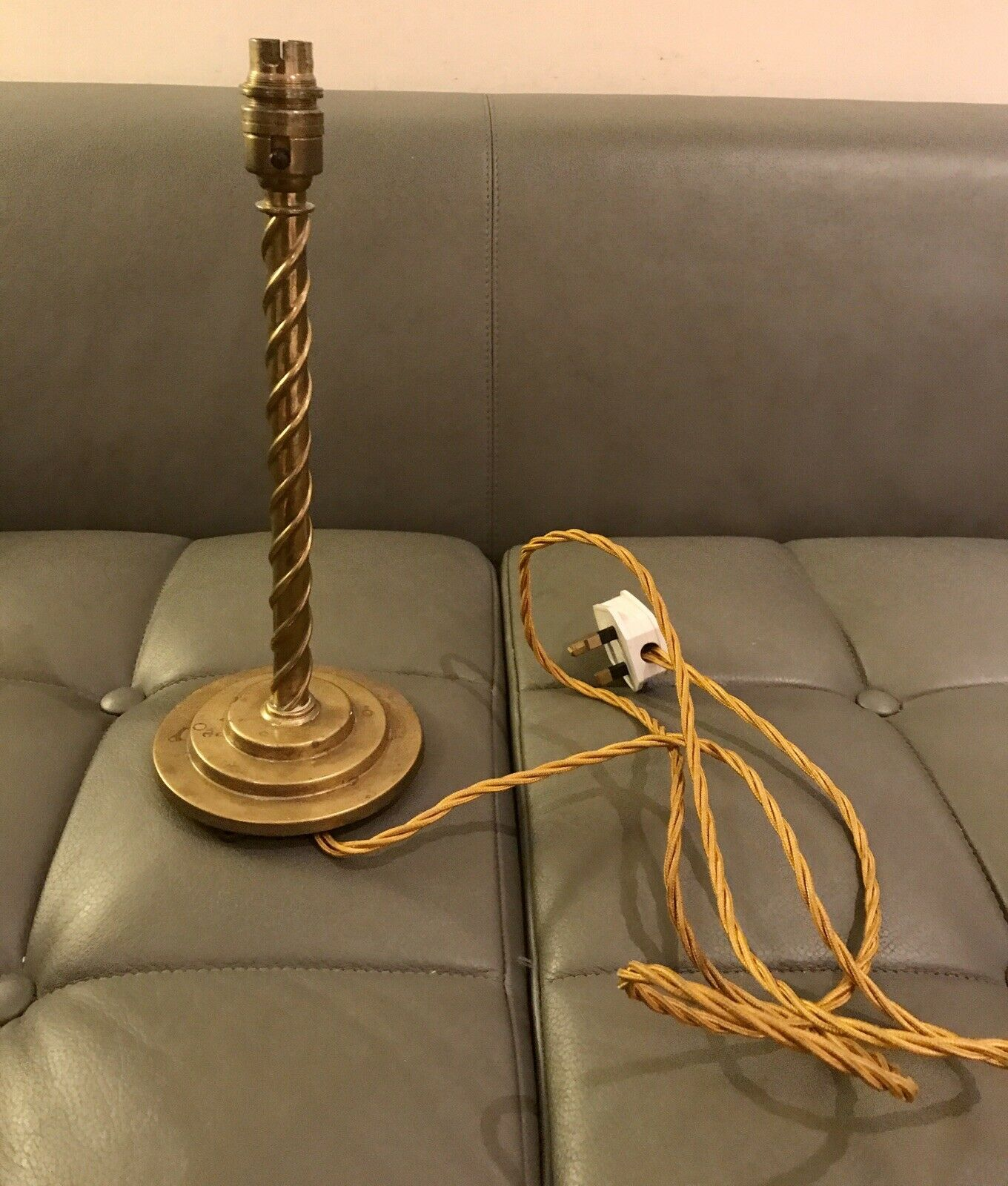 Early c20th Brass Spiral Fluted Table Lamp Base By Walkerlite 32cm High Rewirot
