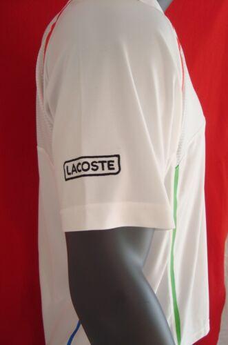 Lacoste SPORT White w//Racing Stripes Men/'s Ultra Dry Upper Mesh Polo Shirt NEW