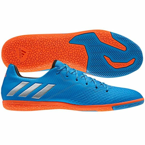 29fa1b9228f4 adidas 16.3 IN Messi 2016 Indoor Soccer Shoes Blue - Orange -Silver Kids -  Youth