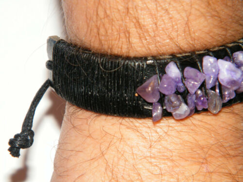 """Amethyst Bracelet Purple Faux Stones REAL Leather Cuff Style 6/""""-10/"""" Wrists NEW!"""