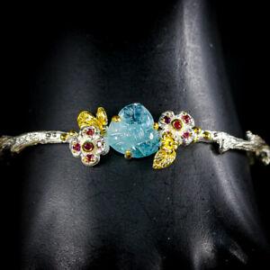 Handmade-Natural-Aquamarine-925-Sterling-Silver-Bangle-Inches-2-75-BA01489