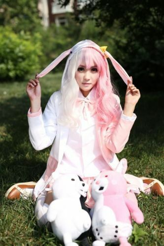 Danganronpa Dangan-Ronpa 2 Monomi mix pink//white Cosplay Costume fancy dress