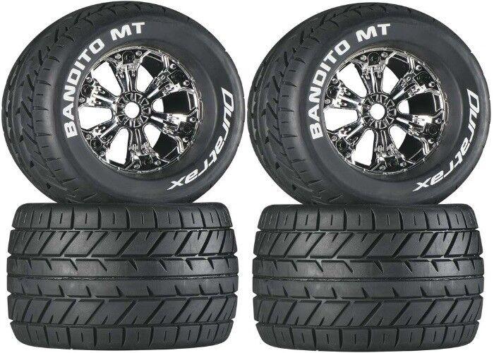Duratrax 3.8 Mounted Bandtio MT Tires   Wheels 4 E-Maxx Revo 3.3 Savage X   Flux