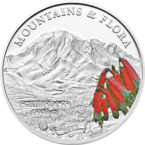 Palau 2012 $5 Mountains and Flora Chimborazzo Silver Coin Proof Mintage 2500!!!