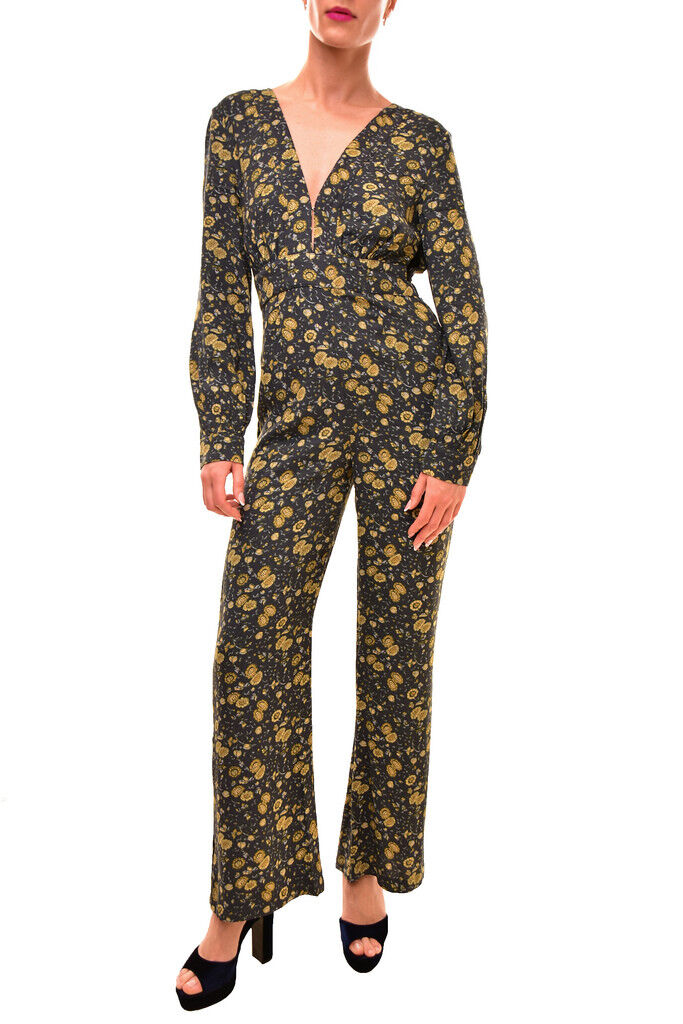 Free People Women's Floral Jumpsuit Multi Green Size XS RRP  BCF84