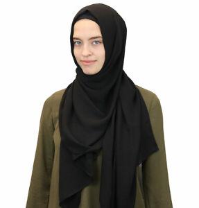 Islamic-Turkish-Women-039-s-Solid-Textured-Crepe-Hijab-Scarf-Shawl-Wrap-Black